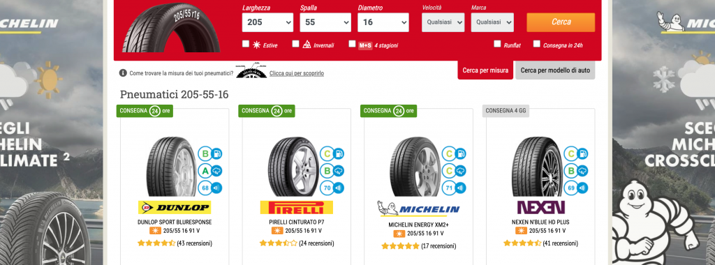 vendita online pneumatici 205 55 16
